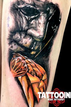 Michael Mayers #tattooartist #tattoos #blackandgreytattoo #tattoo #picoftheday #pictureoftheday #blackandwhite #blackandgreytattoo #horror#horrortattoo #nerd #nerdtattoo #comic #comictattoo #marvel #marveltattoo #dc #dctattoo #drawings_academy #color #colortattoo #ironman