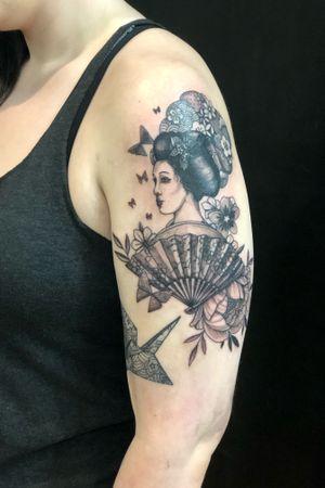Origami geisha tattoo #japanese #blackwork #geishatattoo #japanesetattoo #origami #origamitattoo