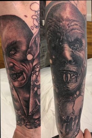 Full sleeve tattoo Nosferatu