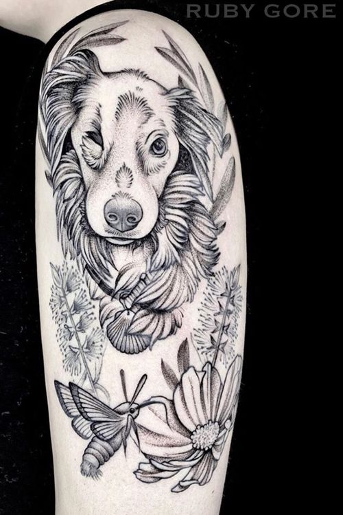 Sweetest pup portrait! #dog #moth #dotwork #etching #illustrative #linework #fineline #delicate #flower #floral #animal #nature #botanical #surrealism #trashpolka #realistic #blackwork #blackandgray #girlytattoo #idea #design #drawing #sketch