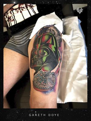 Empire Strikes Back . . . One more session left on this #starwars #tattoo by Gareth Doye Tattoos on @whiteyop 🦾 Swipe detail, shout out to Nikita Jade Morgan for the drawing help 😎 . . . Email doye.gareth@gmail.com for booking info. . . . @flashheal @creamtattoosupplyza @tattooinc.co.za @kakluckytattoos @luckyironstattoocph @ecotatpro . . . #tattoos #art #tattooartist #tattoosofig #electrumstencilprimer #tattooed #420 #tattoooftheday #luckyironstattoo #walkins #tatovering #dipandrip #radtattoos #flashheal #kakluckytattoos #capetown #copenhagen #darthvader #colortattoo #thightattoo #tattoosofinstagram #linedrawingbynikita