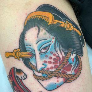 Namakubi back of thigh 2.5 hours #geisha #namakubi #severedhead #japanese #japanesetattoo #irezumi #jarradchivers