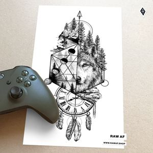 Wolf spirit. Dotwork/stippling wolf tattoo design with spiritual and nature elements: forest, clock, feathers, Moon phases.