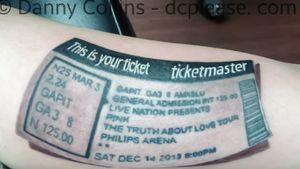Custom Concert Ticket tattoo