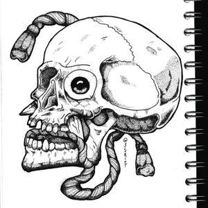 Oni skull instead of a mask... #onitattoo #onidemon #oni #skulltattoo #skull