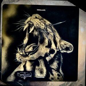 Knocked out this badass Ocelot for all of you #Archer fans!! #BombTechQ #tattoo #tattooing #ink #blackandwhite #blackandgreytattoo #art #bishoprotary #tattooist #chayennetattooequipment #cattattoo #wildcats #practicemakesprogress #inked #inkaddict #inkart #ocelot