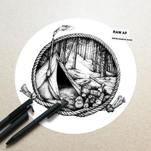Forest tent - dotwork nature tattoo design, you can get the high-resolution files from www.rawaf.shop