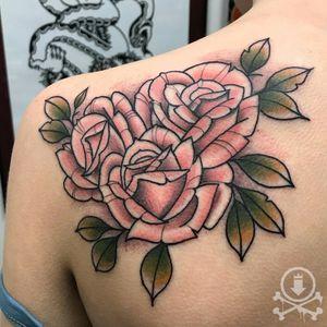 Floral Shoulder Piece #traditional #flower #rose #pink #color