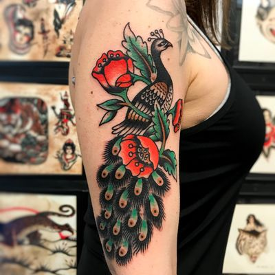 Peacock tattoo by Sem Boy #semboy #traditional #color #peacock #feathers #flowers #poppy
