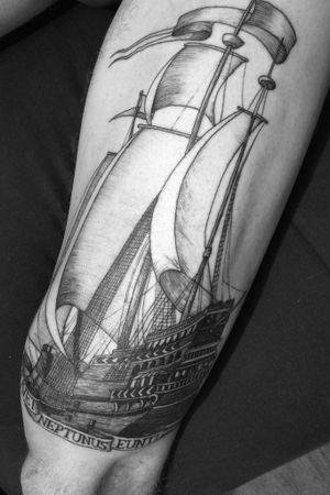 #HelloDarkness #Ship #Gravure #Blackwork #QuentinAldhui #Lyon #Engraved