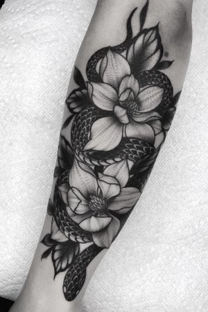 Snake and magnolias