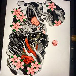 Skull samurai design , passing the the time whilst covid19