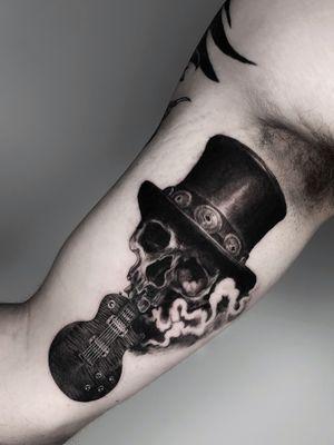 Guitar and sull tattoo by Natasha Hemera #NatashaHemera #skull #guitar #smoke #slash
