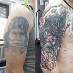 #blackandgrey #blackandgreytattoo #custom #customtattoo #freehand #freehandtattoo #berserk #berserker #viking #vikings #tattoo #tattoos #bear #beartattoo # cover up # covertattoo
