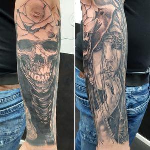 #blackandgreytattoo #blackandgrey #custom #customtattoos #skull #skulltattoo #dark