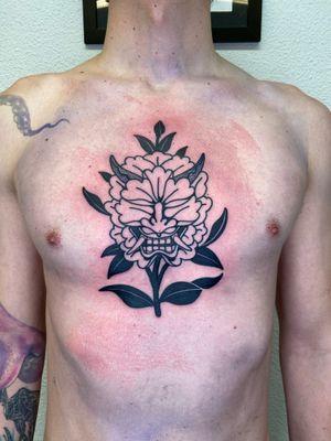 Hannya chest tattoo by Devoner #Devoner #hannya #chest #blackwork