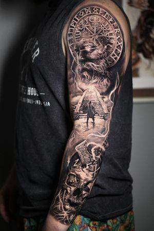 Viking sleeve  #vikingtattoo #blackandgreytattoo