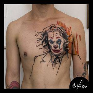 El Joker de Joaquín Phoenix. #JokerTattoos #batmanjoker #LineworkTattoos #comics