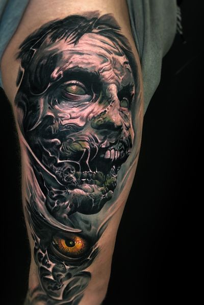 🧟♂️ #zombie #vainiusanomaly #horror #fantasy #creepy #realistic #color #dark #evil #unique #tattoo done with Intenze tattoo ink and Inkjecta machine