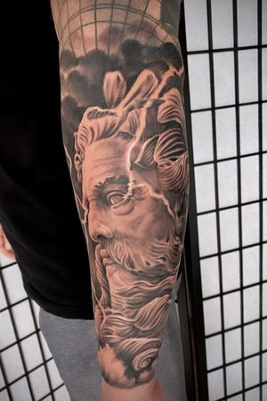 Posiedon tattoo added on the this sleeve.  Can't wait to do more of these.  #peaces #posiedon #greekgod #blackandgrey