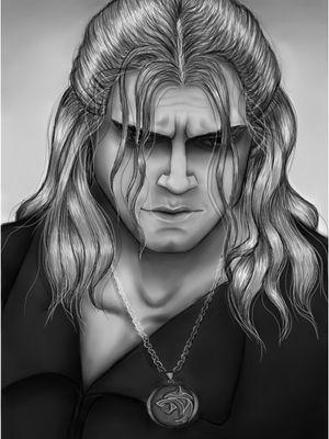 Geralt of Rivia Art by Dounia Rhaiti.