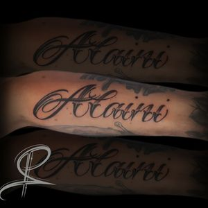 Alaini ~ #lettering #london #londontattoo #stigmarotary #femaletattooartist #scripttattoos #customlettering  #forearmtattoo