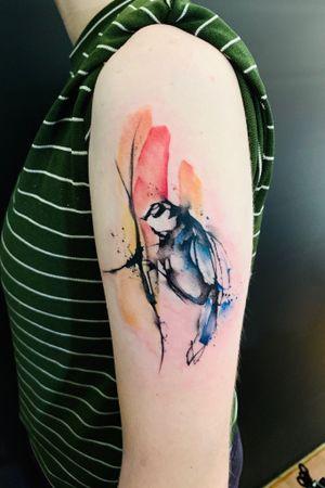 #bayareatattoo #sanfrancisco #watercolortattoo #color #birdtattoo #abstractattoos
