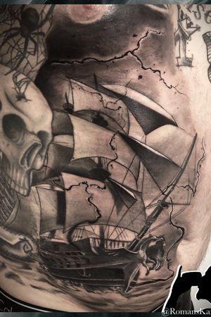 Ship custom tattoo , Cologne Köln Germany ! Stigmata-inc contact start Instagram @Romanskanajevs or tattoobyromans@gmail.com