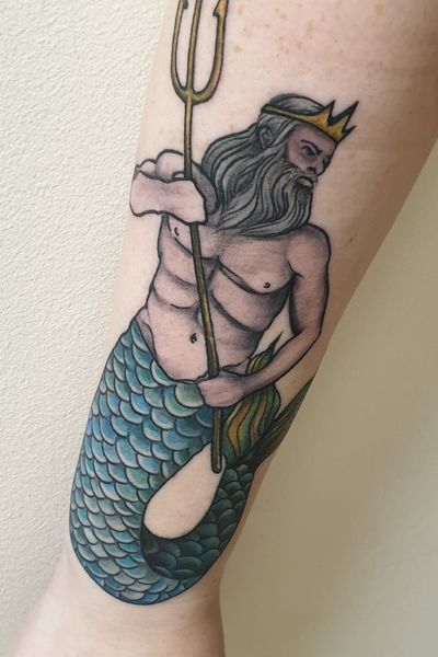 Forearm piece! #poseidon #traditional #oldschool #sailor #merman #sealife #godofthesea #trident