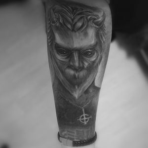 Nameless ghoul from Ghost #ghost #ghostbc #namelessghoul #arm #armtattoo #blackandgrey