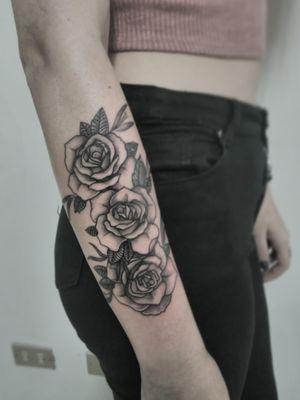 Triple roses on blackwork