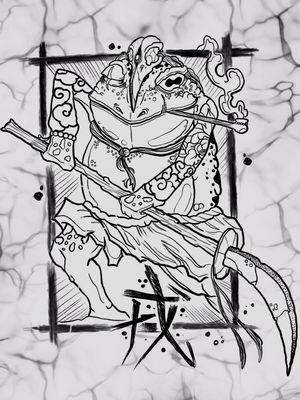 Diseño que estuve trabajando en formato digital. K A E R U. Diseño el cual tengo muchas ganas de tatuar. Tengo un espacio mañana y otro el domingo. Lo tendré en precio especial para el interesado. Es una pieza grande, pensada para área de brazo o muslos. Para Info pueden escribir al WhatsApp 60236883 Pura vida. #kaerutattoo #frogtattoo #japanesetattoo #jloyalbodyart #painfactorytattoo