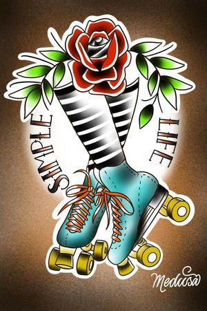 #NaneMedusaTattoo #oldschooltattoos #oldschool #rollerblades