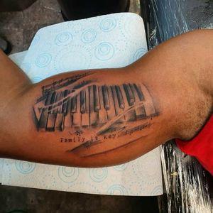 Music tattoo from last month #musictattoo #tattoo #blackandgreytattoo #realismtattoo #piano #londontattoo #blackandgrey