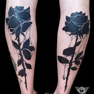 Blacked out roses. Designs from my old flash. #blackwork #rose #flower #floral #blackout #black #dark