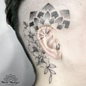 Tattoo by Marta Madrigal #MartaMadrigal #fineline #dotwork #illustrative #floral #flower #nature #mandala #eartattoo #sacredgeometry