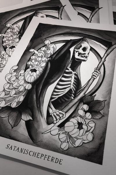 Reaper print by @satanischepferde ,order at satanischepferde.bigcartel.com #reaper #reapertattoo #dark #occult #skull #skeleton #chrysanthemum