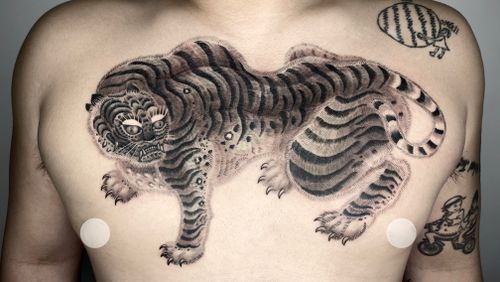 Korea traditional tiger drawing tattoo on a chest