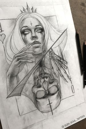 #elensoul #queen #card_queen #tattoo_design