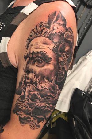 #poseidon#sleeveinprogress #blackandgrey #greywashtattoo #blacktattoo #art #artist #tattooartist #womentattooartist #romaniantattooartist #lovemyjob #cheyennethunder #cheyennehawkspirit #dynamicink #inkppl #ink #armtattoo #iuliacristea #inflictedmindstattoo #tattoodo #tattoolovers #lovetattoos