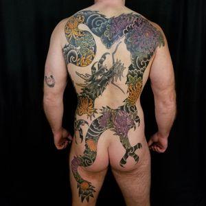 Multi coverup Dragon Backpiece. #dragon #backpiece #dragontattoo #japanesebackpiece #samyamini #sleeve #japanesesleeve #japanesesleevetattoo #fudomyoo #irezumi #japanesetattoo