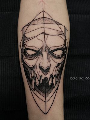 Skull man. Black grafik tattoo sketch