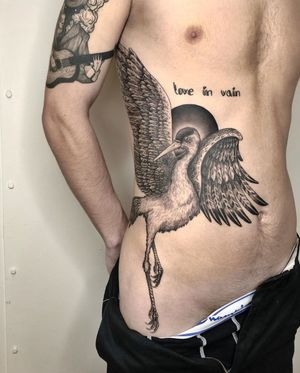 Crane tattoo by Jeppe Dahl #JeppeDahl #Japaneseinspired #crane #feathers #bird #sun #feathers #wings