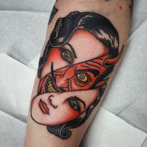 Split face tattoo by Lord Gator #LordGator #satan #devil #traditional #color #lady #ladyhead