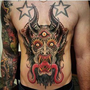 Demon tattoo by Lord Gator #LordGator #color #demon #devil #stomach #thirdeye #horns