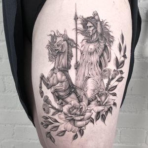 Illustrative tattoo by Annabelle Luyken #annabelleluyken #horse #illustrative #goddess #deity #warrior #rose