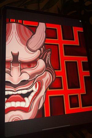 Red pallet Hannya mask tattoo design