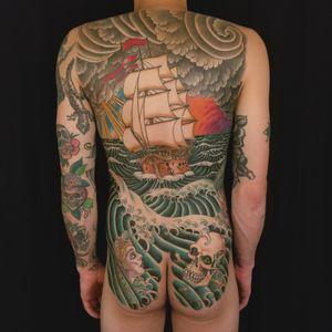 Homeward Bound #Backpiece.  #samyamini #ship #dhiptattoo #backpiecetattoo  #homewardbound #skull #mermaid
