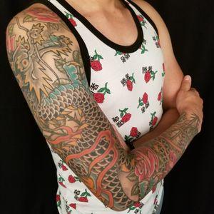 #Dragon and #Roses #sleeve for Lucian.  #ryu #dragonsleeve #denver #samyamini #irezumi #japanesetattoo #rosetattoo
