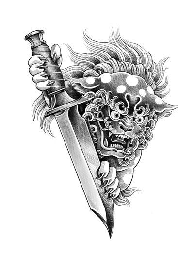 Foo dog and knife. (Available) . . . . #tattoo #tattoodesign #blacktattooart #blackwork #tattooart #seoultattoo #tattrx #blacktattoo #tttism #btattooing #koreatattoo #foodog #foodogtattoo #knife #knifetattoo #illsontattoo #타투 #문신 #타투도안 #일러스트타투 #라인타투 #서울타투 #미니타투 #블랙워크 #블랙타투 #해태 #해태타투 #칼 #칼타투 #일손타투